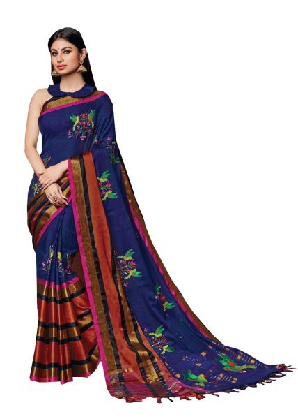 Soft Cotton Silk Embroidered Saree (Blue_Oshee)