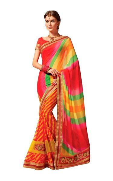 Designer Lehariya Jaipuri Style Embellished Georgette Saree S5266
