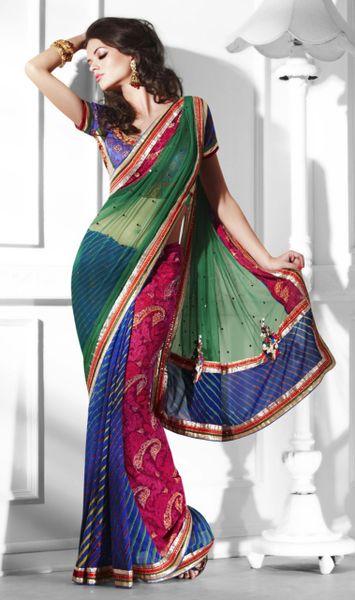 Designer Multi Net and Georgette Heavy Embroidered saree SC2110
