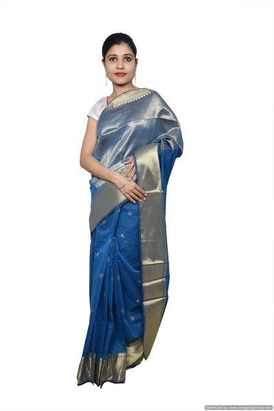 Blue Banarsi Cotton Silk Saree with Running Blouse Fabric BS18