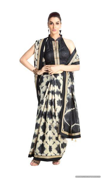 Designer Black Handloom Silk Light Embellished Saree SCMIS03