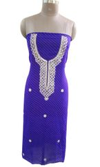 Jaipuri Lehariya Georgette Gotta Patti work Blue Kurti Kurta Fabric GP83