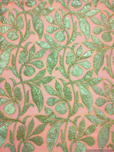 Designer Georgette Peachy Orange Gotta Embroidered for Blouse Crop Top Cut 2 Meter ( 203 cms )