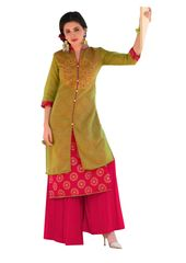 Designer Green Rayon Cotton Kora Silk Layered Embroidered Long Kurta Dress Size XL SCKSD207