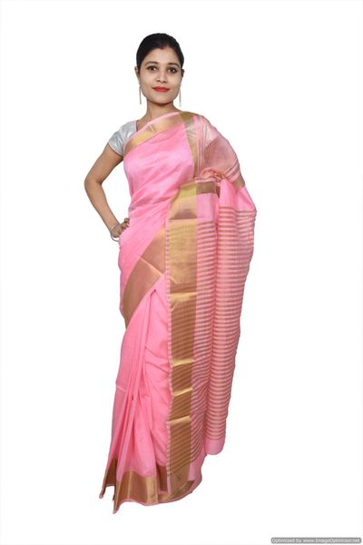 Pink Banglore Silk Saree with Running Blouse Fabric BGS05