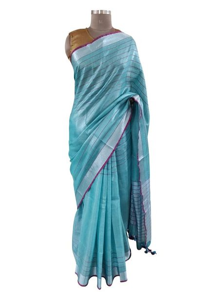 Silver Border Tissue Linen Cotton Striped Saree (Turquoise_BLS09)