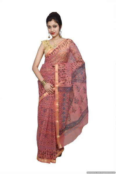 Designer Peach Gold Border Kota Cotton Printed Saree KCS76