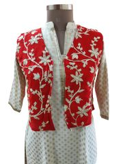 Red Gotta Embroidered Ethnic Jacket Shrug