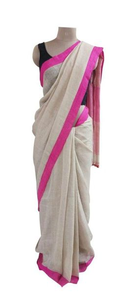 Exclusive Coffee Color Pink Border Linen By Linen 80 Count Saree 3