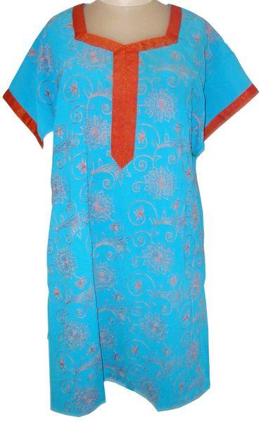Blue Georgette Semi Stitched Kurta (Plus Size_3XL)
