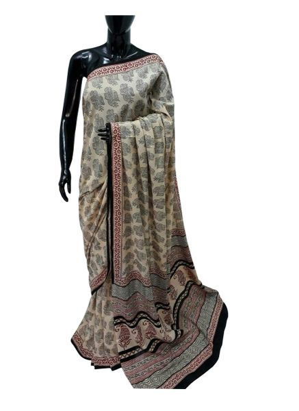 Exclusive Ajrakh Hand Block Printed Beige Cotton Saree NV07