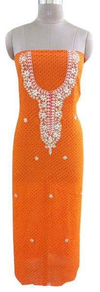 Jaipuri Mothra Georgette Gotta Patti work Orange Kurti Kurta Fabric GP72