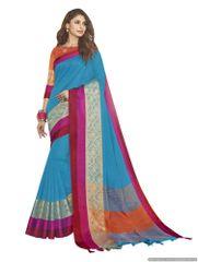 Solid Border Blue Cotton Silk Saree