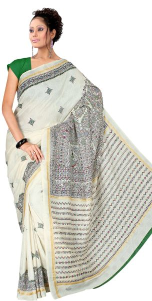 Designer Off white Printed Cotton Silk Saree SC4469D