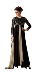 Designer Black Georgette Embroidered Dress Material With Nazmeen Dupatta M10032