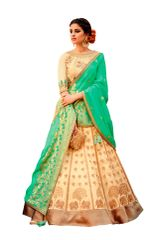 Cream Green Pure Silk Lehenga Choli Dupatta L507