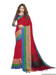 Solid Border Red Cotton Silk Saree