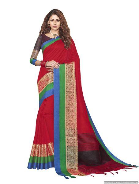 Solid Border Red Cotton Silk Saree