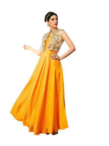 Designer Ready to Wear Yellow Slub Satin Silk Embroidered Long Gown Dress Size 42 A417
