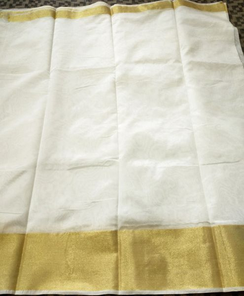 Exclusive Off White Chanderi Cotton Silk Saree Golden Zari Border CS49
