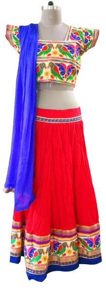 Garba Cotton Chaniya Choli 3 Piece Lehenga Kutchi Work GB02