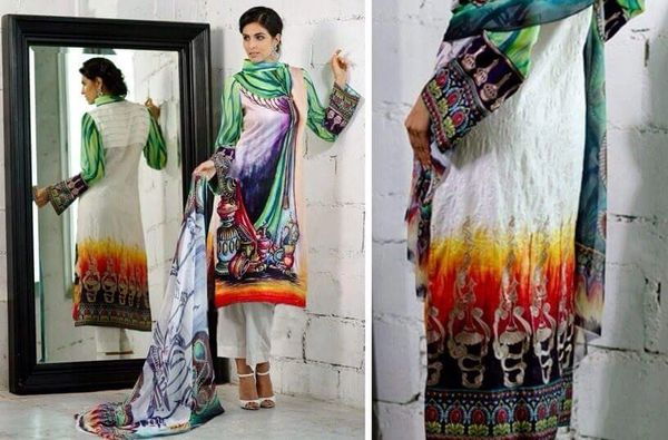Designer Pakistani Replica Off White French Crepe Printed Dress Material SUR1