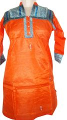 Orange Tussar Silk Kurta