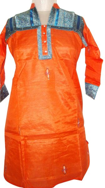 Orange Tussar Silk Kurta