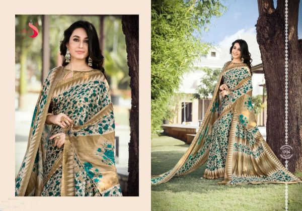 Designer Printed Pashmina Saree with Shawl SC1704