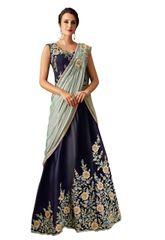 Designer Blue Taffeta Heavy Indo Western Lehenga Saree