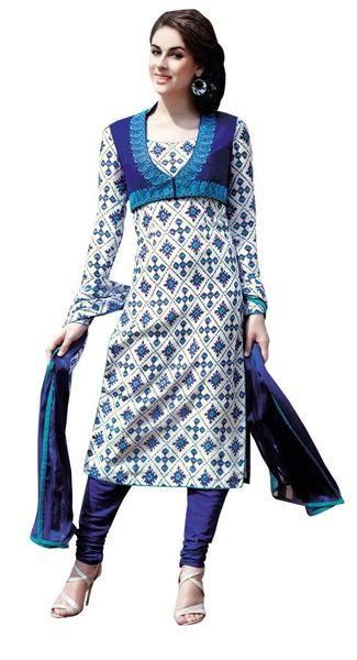 Designer Black Embellished Bhagalpuri Dress Material