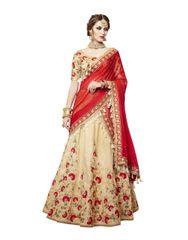 Designer Embroidered Heavy Red Beige Handloom Silk Lehenga Saree SC4085