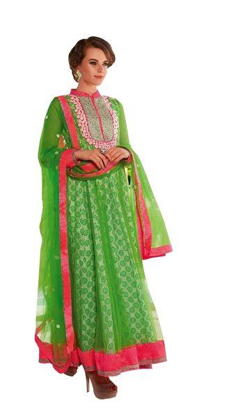 Designer Semi Stitched Green Net Anarkali Green Salwar kameez SC3011A