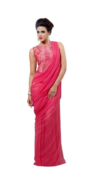 Designer Semi Stitched Western Dress Pink Net Long Gown SC1045