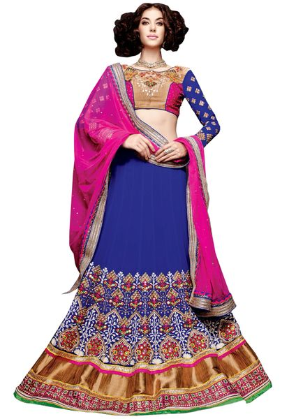 Blue Pink Georgette Lehenga Choli Dupatta Fabric Only SC5003