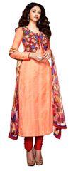 Aditi Rao Cotton Jequard Peach Red Embroidered Dress Material SC9051