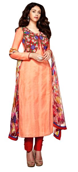 Aditi Rao Cotton Jequard Peach Red Embroidered Dress Material SC9051