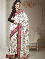 Designer White Dupion Embroidered Saree SC1517