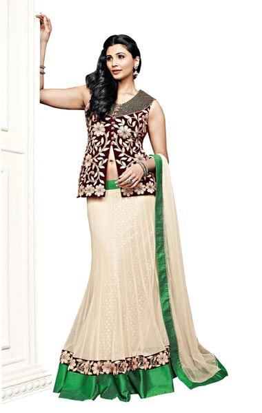 Cream Green Net Three Piece Lehenga Choli Dupatta Fabric Only SC2369