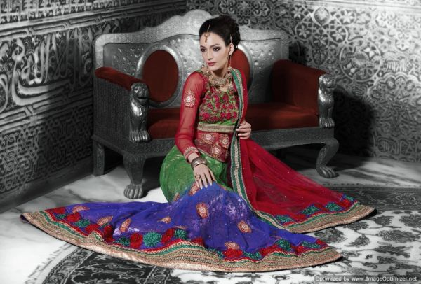 Red Green Net Lehenga Choli Dupatta Fabric Only LC508