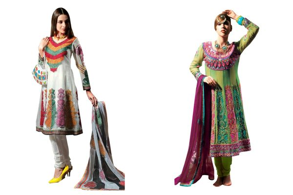 Anarkali Georgette/Net Embroidered Dress Material Combo Set of Two