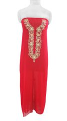 Jaipuri Gotta Patti Work Red Georgette Kurti Kurta Fabric GP55