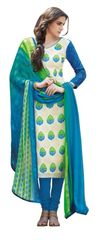 Designer Blue Embellished Bhagalpuri Dress Material