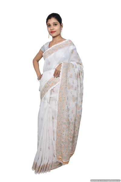Designer Off White Chikankari Embroidered Cotton saree
