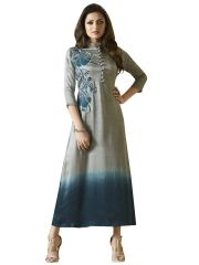 Designer Gray Blue Vicose satin Kurti Kurta Dress Size XL SCLT905
