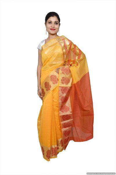 Yellow Banarsi Cotton Silk Saree with Running Blouse Fabric BS27