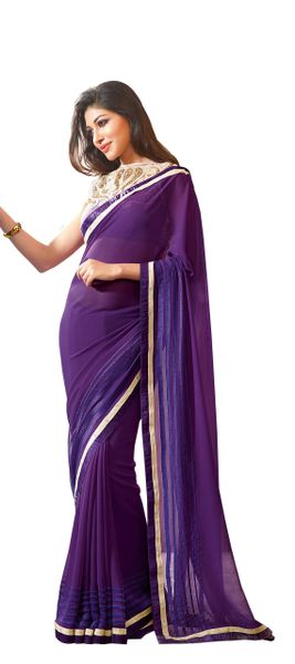 Purple georgette Saree with exclusive blouse fabric SC10014