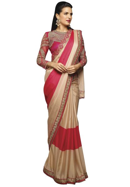 Designer Beige Pink Crepe Saree with Embroidered Blouse Fabric SC405