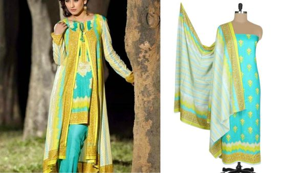 Designer Original Pakistani Sana Samia Turquoise Lawn Cotton Dress material SSL8A