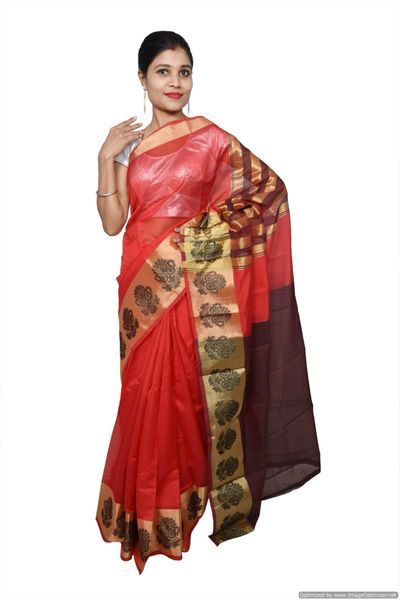 Red Banarsi Cotton Silk Saree with Running Blouse Fabric BS28